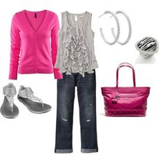 polyvore pink and gray | Pink & Grey with zebra details - Spring, created by dessarno on ...