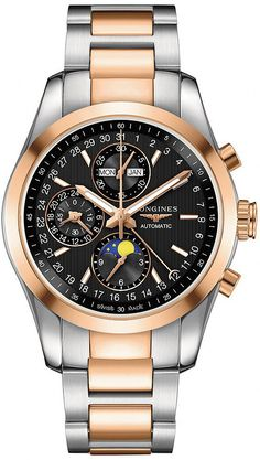 @longineswatches Conquest Classic #bezel-fixed #bracelet-strap-rose-gold…