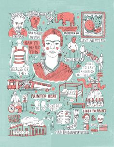 Frida Kalho from The Illustrated lives of Artists, Writers, Thinkers, Dreamers by James Gulliver Hancock | yeahmazinani