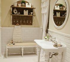 Suzie: FOUND - Vintage bathroom with glossy white porcelain 2 leg washstand sink, white beveled ...