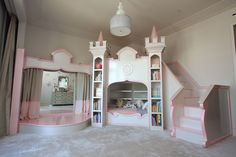 Bedroom , Give Fabulous Place for Your Little Girl : Awesome Looking Fairytale Themed Girls Bedroom Decor : Beautiful Custom Deco Princess Castle Bed Designed With Top Play Area, Stairs And Awesome Two Sides Book Shelves As Well As Nice Powder Room With Beautiful Gate And Curtain