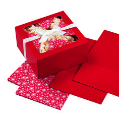 Red Snowflake Treat and Cookie Box with Liner, 3 Count by Wilton