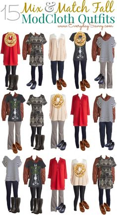 15 fun and fashionable fall mix and match outfits from ModCloth. These outfits will take you from day to a casual date night.