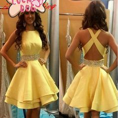 Bg747 Charming Prom Dress,Yellow Prom Dress,Short Prom Dress,Backless