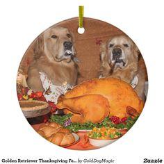 Golden Retriever Thanksgiving Feast Ceramic Ornament