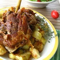 Pot Roasted Leg of Lamb with Garlic and Cheese