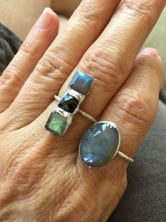 Labradorite and Spinel Silver Ring by PixieStixDesigns on Etsy