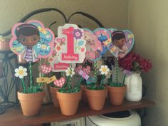 Doc McStuffins First Birthday Party got creative & put both together. Doc McStuffins flower pot