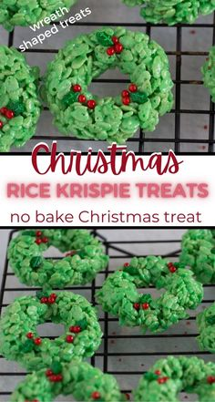 Make these cute Rice Krispie Treat Wreaths a simple Christmas treats! With the basic Rice Krispie treat recipe, some food coloring and decorations you can have an adorable wreath Christmas cookie.