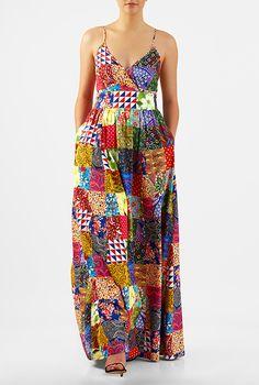 Patch print surplice crepe maxi dress #eShakti