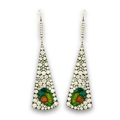 Triangle Shaped Black Opal and Diamond Pavé Drop Earrings by Martin Katz