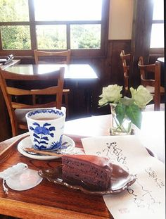2014.1.1. chocolate cake + coffe latte( Tea Salon Shinko-kan at Yoshida-sanso )