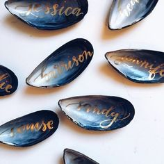 Blue Oyster Shells - Beautiful and Creative Wedding Place Card Ideas - Photos                                                                                                                                                     More