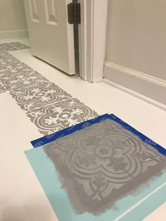How to Paint Your Linoleum or Tile Floors to Look Like Patterned Cement Tiles- Full DIY Tutorial. How to Paint Your Linoleum or Tile Floors to Look Like Patterned Cement Tiles- Full Tutorial Linoleum Flooring, Diy Flooring, Bathroom Flooring, Kitchen Flooring, Flooring Ideas, Kitchen Tiles, Paint Linoleum, Kitchen Decor, Painting Tile Floors