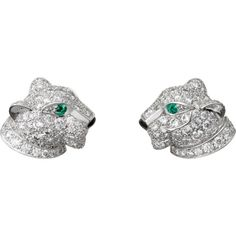 CARTIER Panthère de Cartier 18ct white-gold, diamond, onyx and emerald... ($15,695) ❤ liked on Polyvore featuring jewelry, earrings, cartier earrings, emerald earrings, black onyx diamond earrings, diamond jewelry and white gold emerald earrings