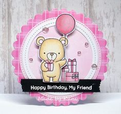 card critters bear balloon gifts MFT Beary Special Birthday Die-namics #mftstamps pink plaid paper balloons