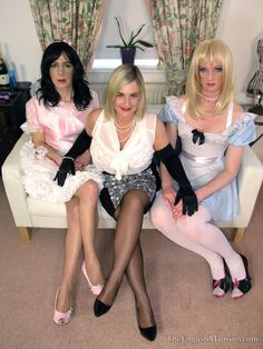 Two slim and feminine experienced sissies in the company of a Dominant.  These girls are happiest in their submissive roles, and have been trained to overcome the fear they once felt at being inadequate 'males'.