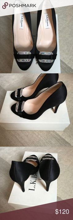 """LK Bennett Black Satin Pumps 37.5 """"Alda"""" Gently worn L.K. Bennett Black satin pumps with crystal design on the toes. The style is """"Alda"""" and I will include original box with the shoes. Size is 37.5 and fit me true to size (similar to a 7.5 US). No noticeable marks or defects except the wear on the soles. Feel free to ask any questions. LK Bennett Shoes Heels"""