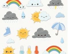 Weather Clipart  Cute Clipart Cloud Clipart by KennaSatoDesigns