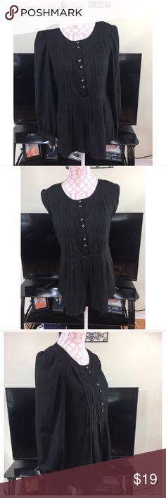 🎀Nicole  Miller Black Peasant Top Nicole by Nicole Miller black blouse. Pleated. Embellished buttons. Excellent condition. Size 6. Bust approximately 36 inches. Length approximately 26 inches. 96% polyester 4% spandex Nicole Miller Tops Blouses