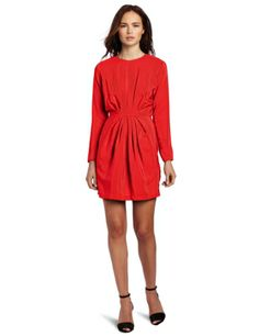 Amanda Uprichard Women's Long Sleeve Stella 100% Silk Dress