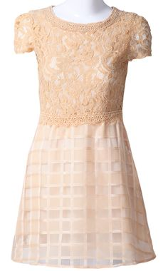 Yellow Short Sleeve Hollow Lace Tomographic Dress