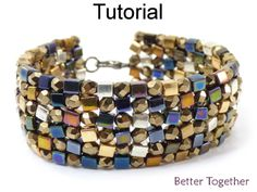 Beaded 4mm Cube Round Fire Polished Herringbone Stitch Bracelet Beading Pattern Tutorial | Simple Bead Patterns