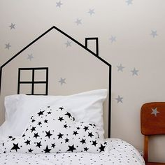 Just dug this pic out from the archives @henryandcohome .xxx. Silver star wall stickers teamed with washi tape headboard . #onehundredpercentheart #walldecals #wallsticker #wallstickers #stars