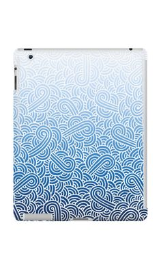 Ombre blue and white swirls zentangle | iPad Retina/3/2 - Snap Case