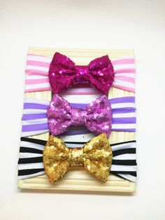 A personal favorite from my Etsy shop https://www.etsy.com/listing/265322890/sequence-bow-headwrap-pink-purple-black