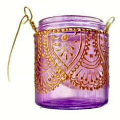 Hanging Candle Holder Inspired by Moroccan Lanterns, Lavender Tinted Glass With Golden Accents