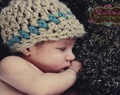 Newborn Baby Boy Chunky Tan and Blue Crochet Hat with Brim, Great for Photo Prop