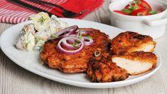 Pokud milujete smažené řízky, tento rozhodně musíte vyzkoušet! K tomu stačí už jen třeba rajčatový salát nebo pár brambor a oběd je na světě. ;) Tandoori Chicken, Chicken Recipes, Meat, Ethnic Recipes, Recipies