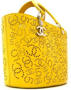 Chanel: Yellow patent leather perforated tote - Polyvore