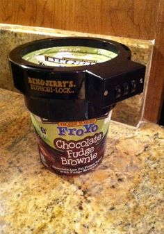 Ben & Jerry's Ice Cream Lock - The coolest product on Pinterst! Now no one can eat your ice cream!