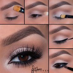 "Here's how to recreate it using Motives Mavens Element palette.  1. Begin By applying ""Birch"" onto the brow bone 2. Taking ""Native"" apply in the crease  3. Pat ""Birch"" onto the lid 4. Line the eyes with ""LBD"" gel liner  5. Using ""Raven"" apply underneath the lower lash line! Highlight the inner corner with ""Shell"""