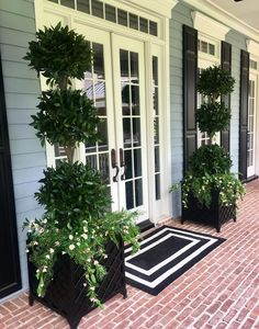 36 Gorgeous Fall Patio Decor Ideas On A Budget - Retreat to a garden and patio design that's beautiful year-round, and takes minimum fuss. Carefree plants with continuous bl. Front Porch Plants, Front Door Planters, Front Door Porch, Front Porch Design, Front Door Entrance, Front Door Decor, House Front, Small Front Porches, Patio Design