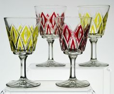 4 Wine or Cordial Glasses in Red and Yellow Cut Decoration, Vintage English Art Deco, circa 1940