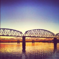 A look at some of the bridges in Louisville. Ohio River at Sunset.