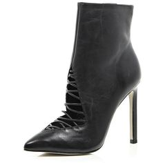 River Island Black 5 Inch & Up cut out ankle boots ($100) ❤ liked on Polyvore featuring shoes, boots, ankle booties, sale, short black boots, cutout booties, high heel ankle boots, cut out booties and short boots