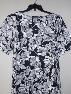 NEW Karen Scott Plus size 2X Womens Boatneck Cuffed Sleeves Pullover black/white #KarenScott #Blouse