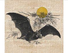 Vintage bat print Halloween Digital download image Iron onFabric transfer