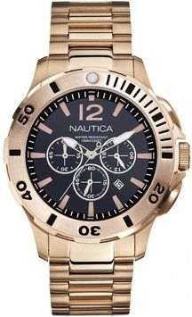 86817907c2ab Nautica Nautica BFD 101 N27524G Men s Gold-tone Chronograph Watch Stainless  Steel Bracelet