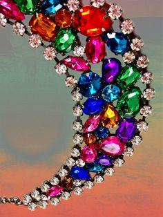 Items similar to SALE Vintage Upcycled 1980's Rainbow Rhinestone Necklace. on Etsy