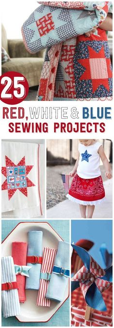 25 Red White and Blue Sewing Projects perfect for the of July -Cute of July Crafts Easy Sewing Projects, Sewing Projects For Beginners, Sewing Tutorials, Sewing Hacks, Sewing Crafts, Sewing Tips, Sewing Ideas, Quilt Tutorials, Diy Spring