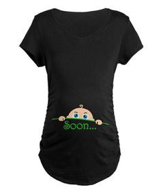 Love this Black 'Soon' Maternity V-Neck Tee on #zulily! #zulilyfinds