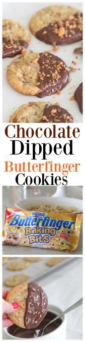 Chocolate Dipped Butterfinger Cookies