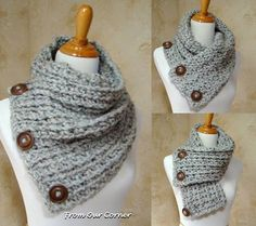 3 Button scarf Grey Tweed Crochet Scarf Loving everything about this! All perfect.I think you could make it even if you don't crochet. Crochet Scarves, Crochet Shawl, Free Crochet, Knit Crochet, Ravelry Crochet, Scarf Knit, Loop Scarf, Crochet Stitch, Blanket Crochet