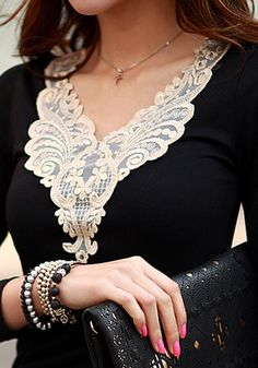 Black Patchwork Lace V-neck Long Sleeve Slim Casual Fashion T-Shirt - Fashion Show - Trends