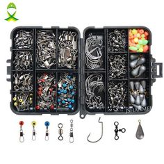 JSM Fishing Accessories Kit Including Jig Hooks fishing Sinker weights fishing Swivels Snaps with fishing tackle box - Fish Supplies Fishing Tackle Box, Bass Fishing Tips, Going Fishing, Carp Fishing, Best Fishing, Fishing Boats, Fishing Lures, Crappie Fishing, Fishing Guide